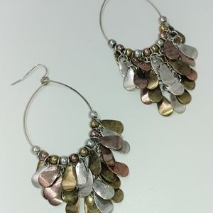 NWT TeSori Mixed Metal Feathered Layer Earrings